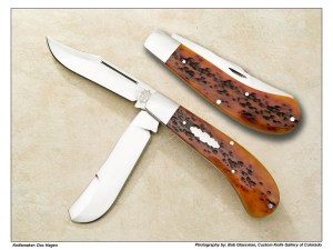 Doc Hagen  Saddlehorn Trapper in Amber Jigged Bone Slipjoint