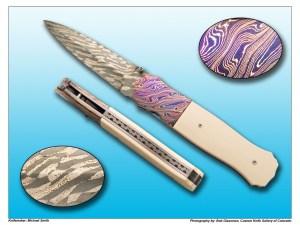Michael Smith Antique Mammoth & Damascus Folding Dagger