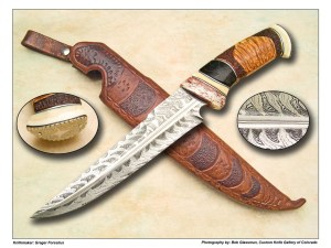 Greger Forselius Fancy Flame Damascus Trailing Point Fighter