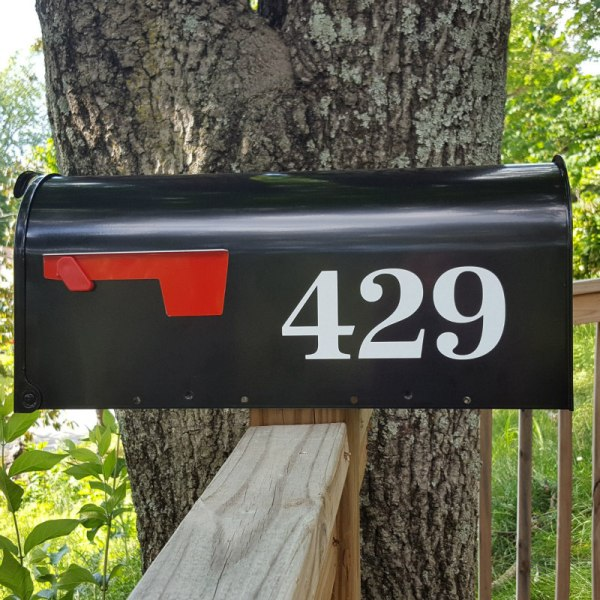 Antiqua Mailbox Numbers in white