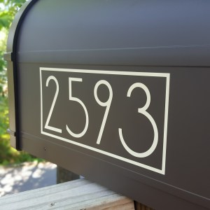 Beige Modern Mailbox Numbers side view