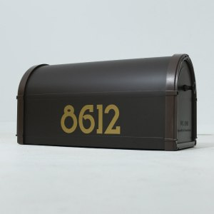 Mailbox Numbers Gold on Bronze