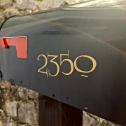 Lumos mailbox numbers in gold