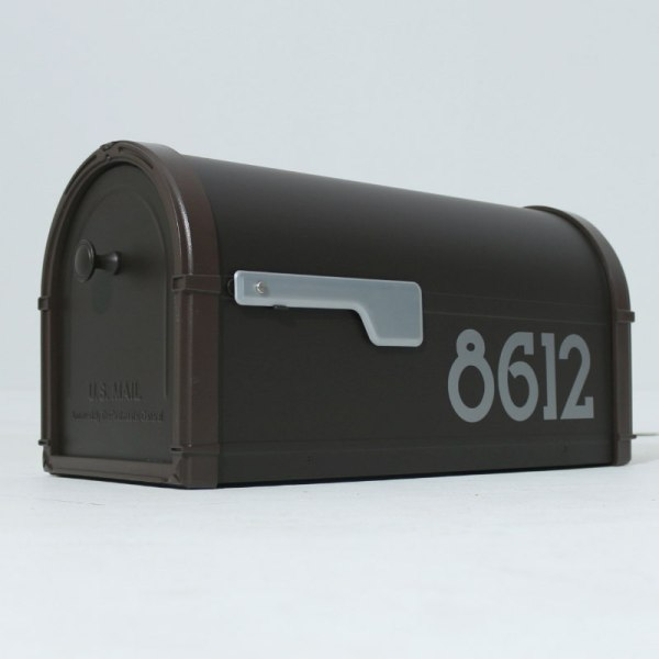 Neo traditional mailbox numbers silver on bronze