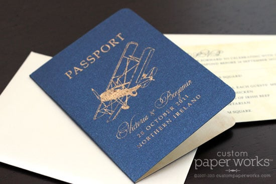 Red Blue Gray Costa Rica Map Dotted Plane Airline Ticket Wedding Invitations