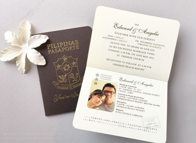 Philippines Wedding Passport Invitation Custom Paper Works