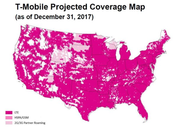 T-Mobile Projected Coverage Map 2017 | Source: T-Mobile