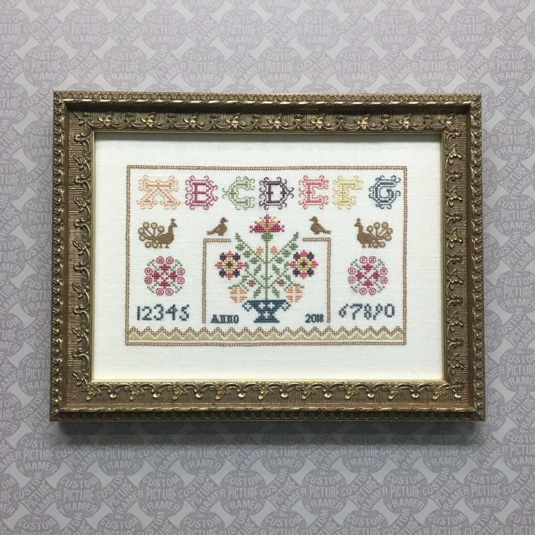 Cross Stitch Sampler Perfection in an Ornate Antique Silver Custom ...