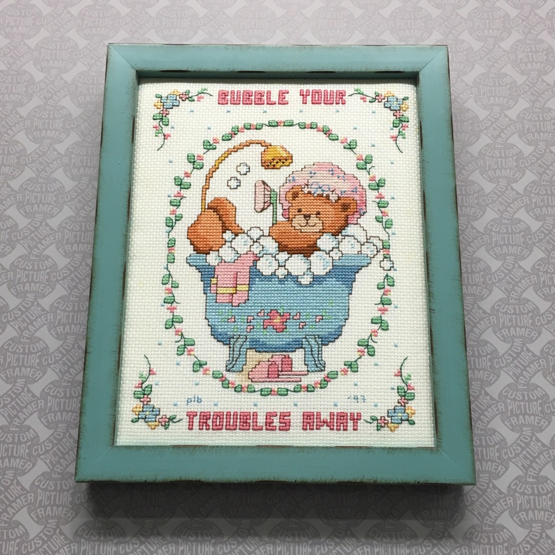 Adorable Cross Stitch Blocked, Stretched, and Custom Framed in a ...