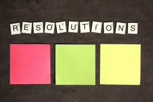 resolutions with stickie pads and scrabble letters