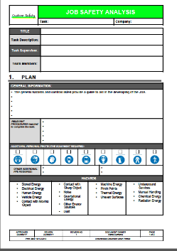 Jsa Template. job safety analysis forms jsa jha form printing ...