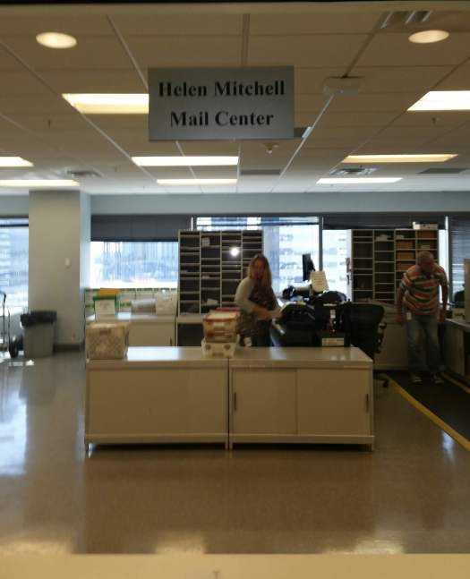 """Helen Mitchell Mail Center"" Sign at TIAA Bank, Jacksonville, Florida"