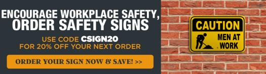 Men At Work Caution Sign Mounted on a Red Brick Wall, Get 20% Off Your Order with Code CSIGN20