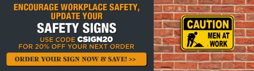 Use Code CSIGN20, Men at Work Caution Sign on a Brick Wall