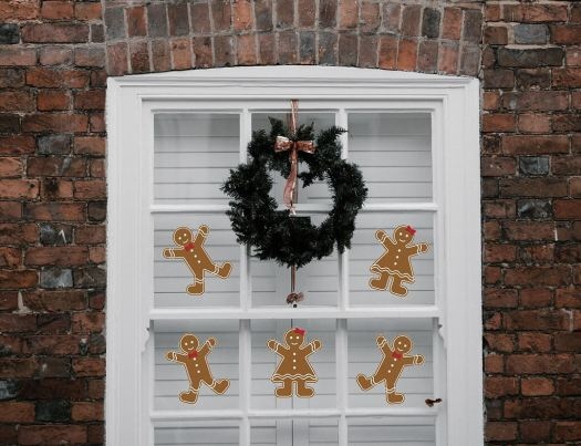 gingerbread cookie wall decals on window