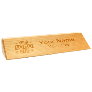 custom engraved wood desk plate
