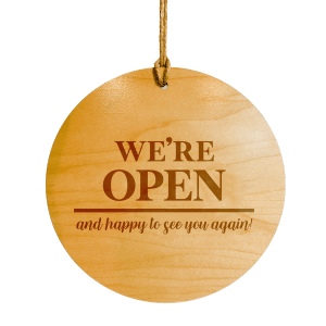 engraved wooden business sign