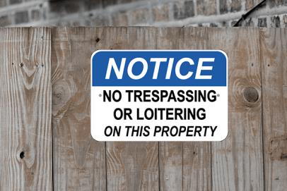 Notice No Loitering No Trespassing Sign