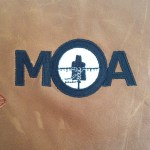 MOA Targets logo on leather
