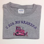 Pink and Purple Bulldozer for an I Dig My Grandpa shirt for a girl