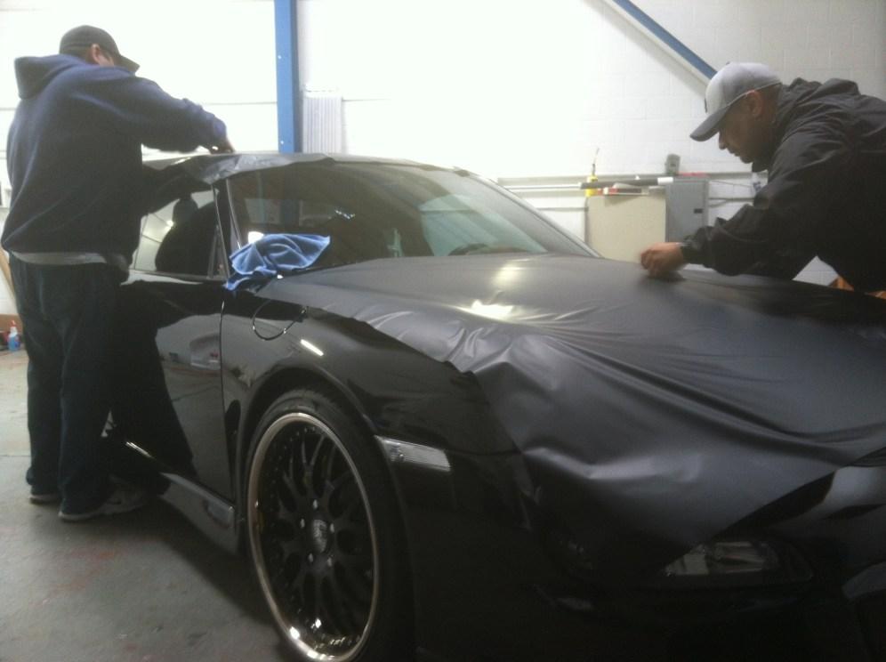porsche matte black car wrapping-05