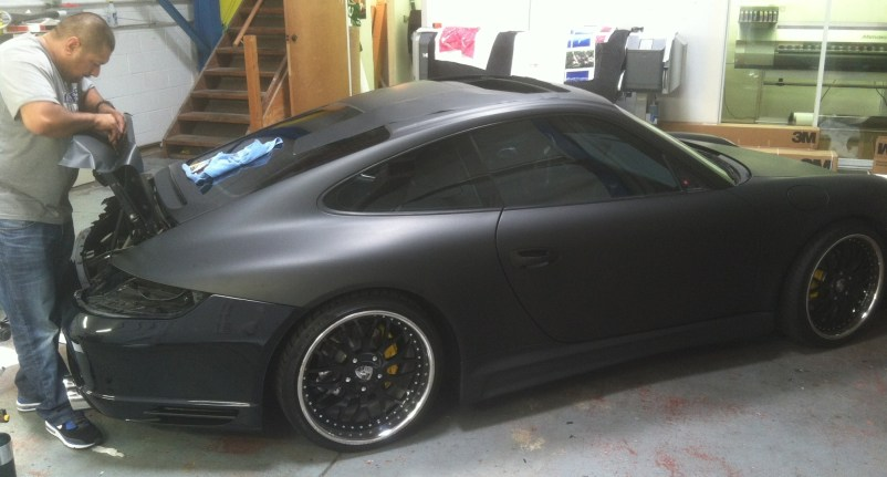 porsche matte black car wrapping-06