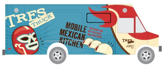 tres food truck wrap graphic