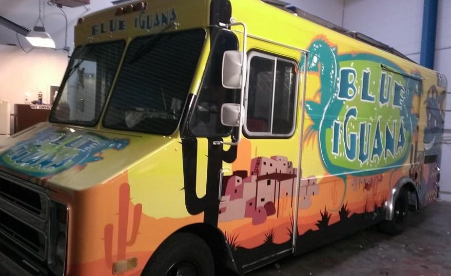 blue iguana food truck wrap