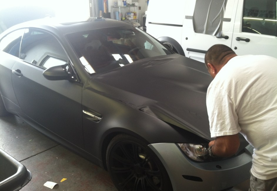 bmw color change silver to matte black-06