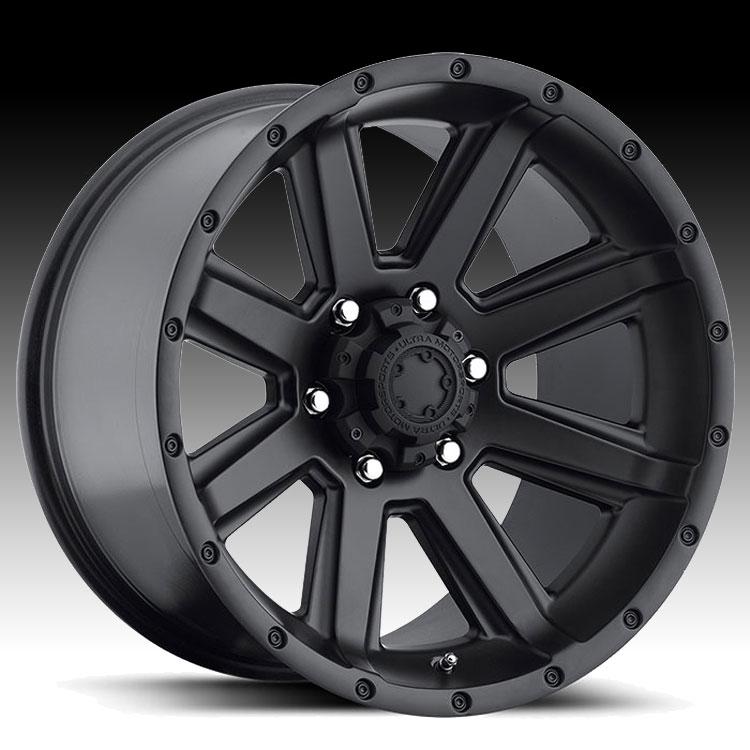 Ultra 195 Crusher Semi Gloss Black Custom Rims Wheels