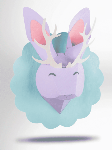 A cute papercraft animal head, made out of pastel cardstock.
