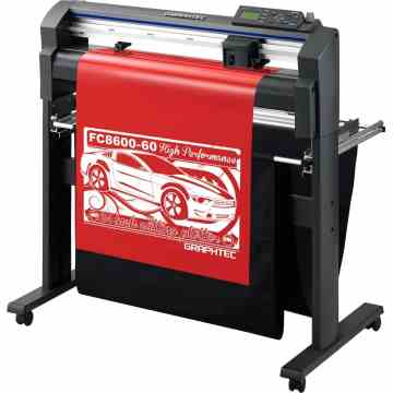 The Graphtec FC8600-60 is a high performance vinyl cutter, complete with stand and media catch basket.