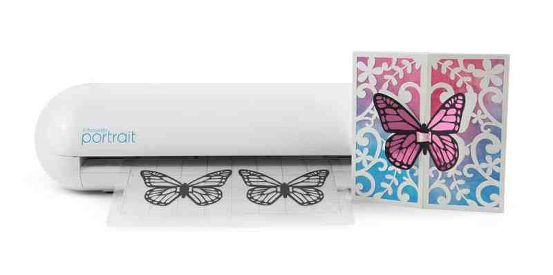 The Silhouette Portrait 2 prints butterfly decals for a pretty card