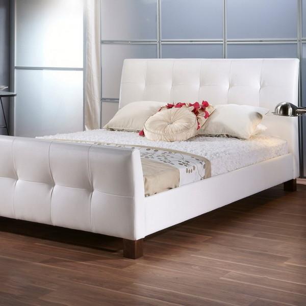 Baxton Queen Size White Bed