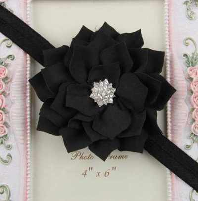 black Winter flower headband for girls