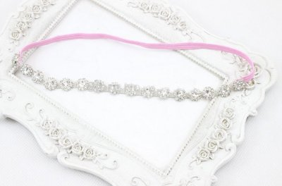 Pink Bling baby headbands with crystals