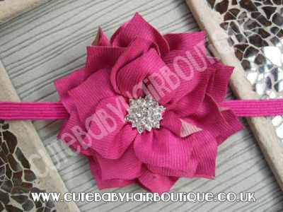 hot pink Winter flower headband for girls