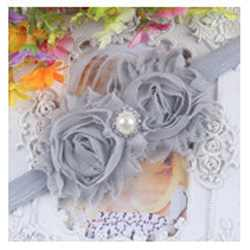 grey-shabby flower headband