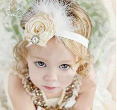 Ivory Flower headband for girls