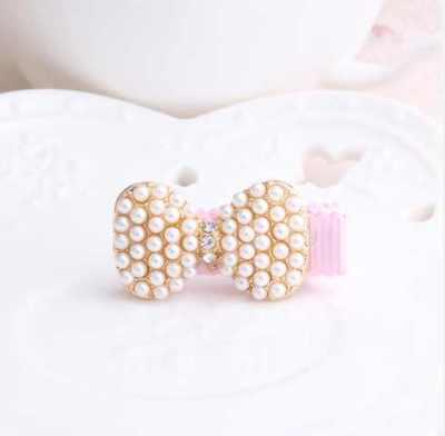 pearl bow baby hair clip