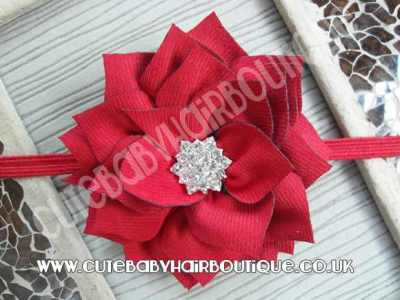 red Winter flower headband for girls