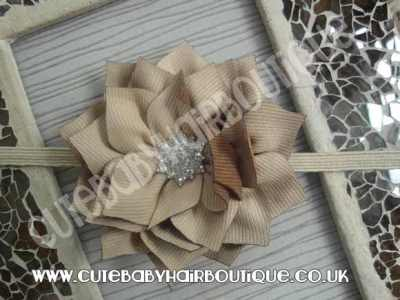brown Winter flower headband for girls