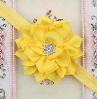 yellow Winter flower headband for girls