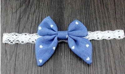 light blue heart denim bow headband