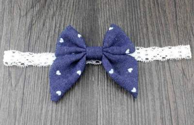 heart denim bow headband