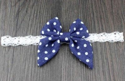 dark blue spotted denim bow headband