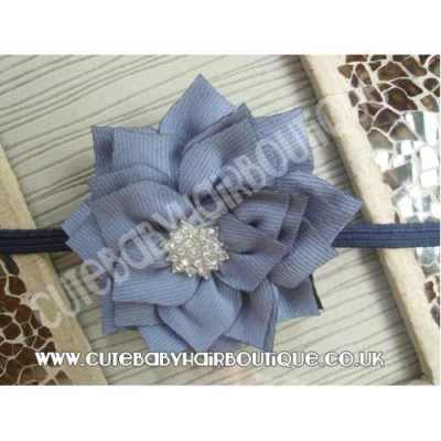 blue Winter flower headband for girls