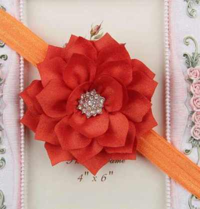orange Winter flower headband for girls