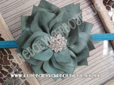 pale green Winter flower headband for girls