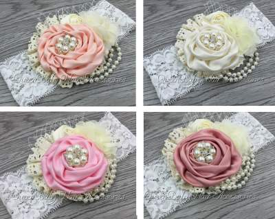 Pearl Lace Christening Headbands
